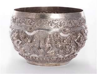 A Burmese silver bowl, late 19th century, of circular