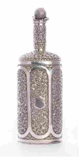 An Indian silver bottle flask, unmarked, probably