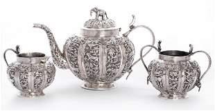 An Indian silver three-piece tea set,Lucknow, c.1900,