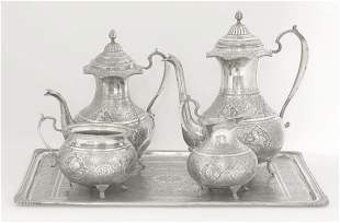A Persian silver five piece tea and coffee service,late
