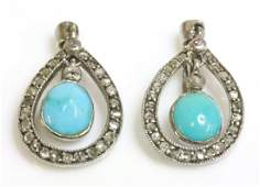 A pair of Art Deco turquoise and diamond drop earrings,