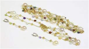 An 18ct gold cultured freshwater pearl and gemstone