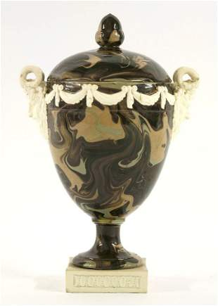 A rare Wedgwood & Bentley agateware Vase and Cover,