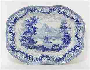 A Minton 'English Scenery Series' blue and white