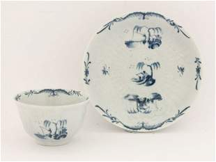 A rare Worcester blue and white Tea Bowl and Saucer,
