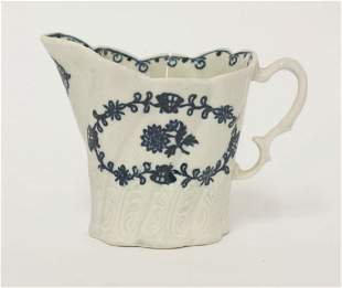 A Liverpool blue and white high Chelsea Ewer, c.1770,