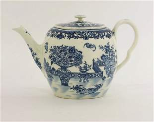 A Worcester blue and white printed Teapot and Cover,