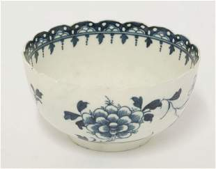 A rare Worcester blue and white 'Scalloped Peony' Bowl,
