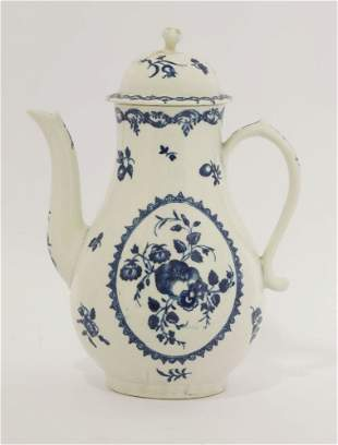 A Worcester blue and white Coffee Pot and Cover,