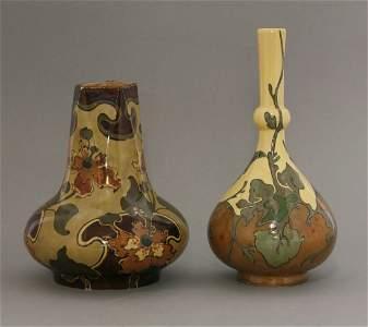 A Rozenburg pottery bottle vase,  painted in colours