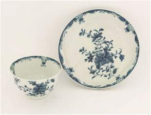 A Worcester blue and white Tea Bowl and Saucer,