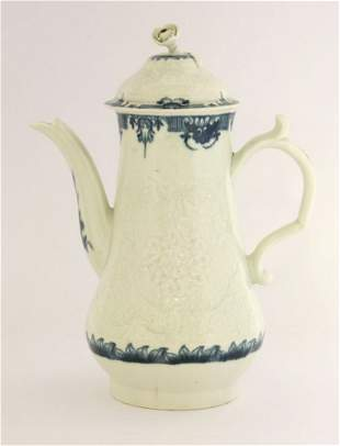 A Worcester Coffee Pot and Cover, c.1770-1790, the