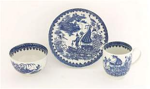 A Worcester blue and white Trio, c.1775-1790, in the