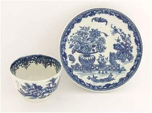 A Worcester blue and white Tea Bowl and Saucer, c.1780,