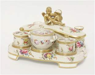 A Spode Inkstand, early 19th century, having three