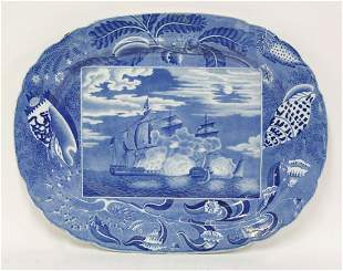 A Victorian blue and white printed Meat Plate, with a