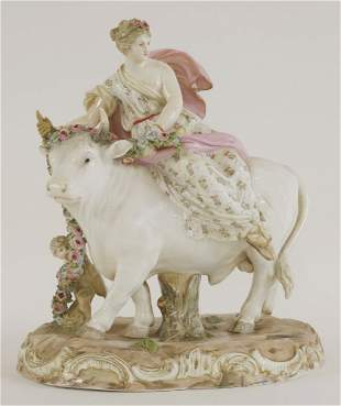 A Meissen group 'Europa and the Bull', the base with