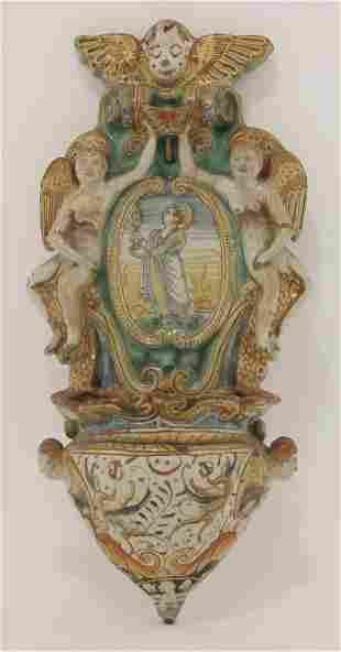 A rare Deruta maiolica Holy Water Stoop, mid-17th