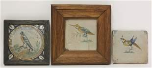 Three various delft Tiles, 17th/18th century, each