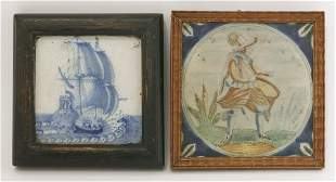 A delft Tile, early 18th century, well painted in blue