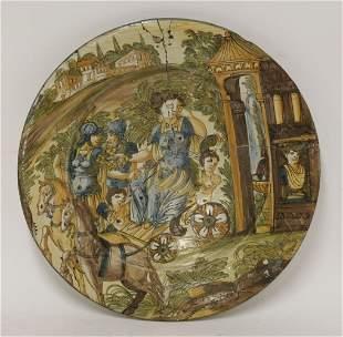 A rare maiolica Dish, Deruta/Savona, c.1700, painted in