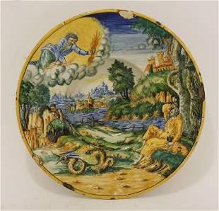 A maiolica Dish, possibly Faenza, late 16th century,