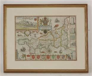 John Speede, Cornwall, hand coloured engraved map, 38 x