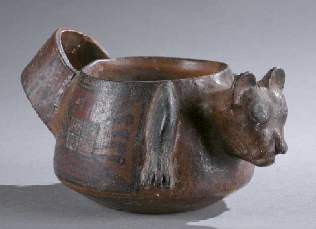 Wari feline pottery bowl, CE600-900.
