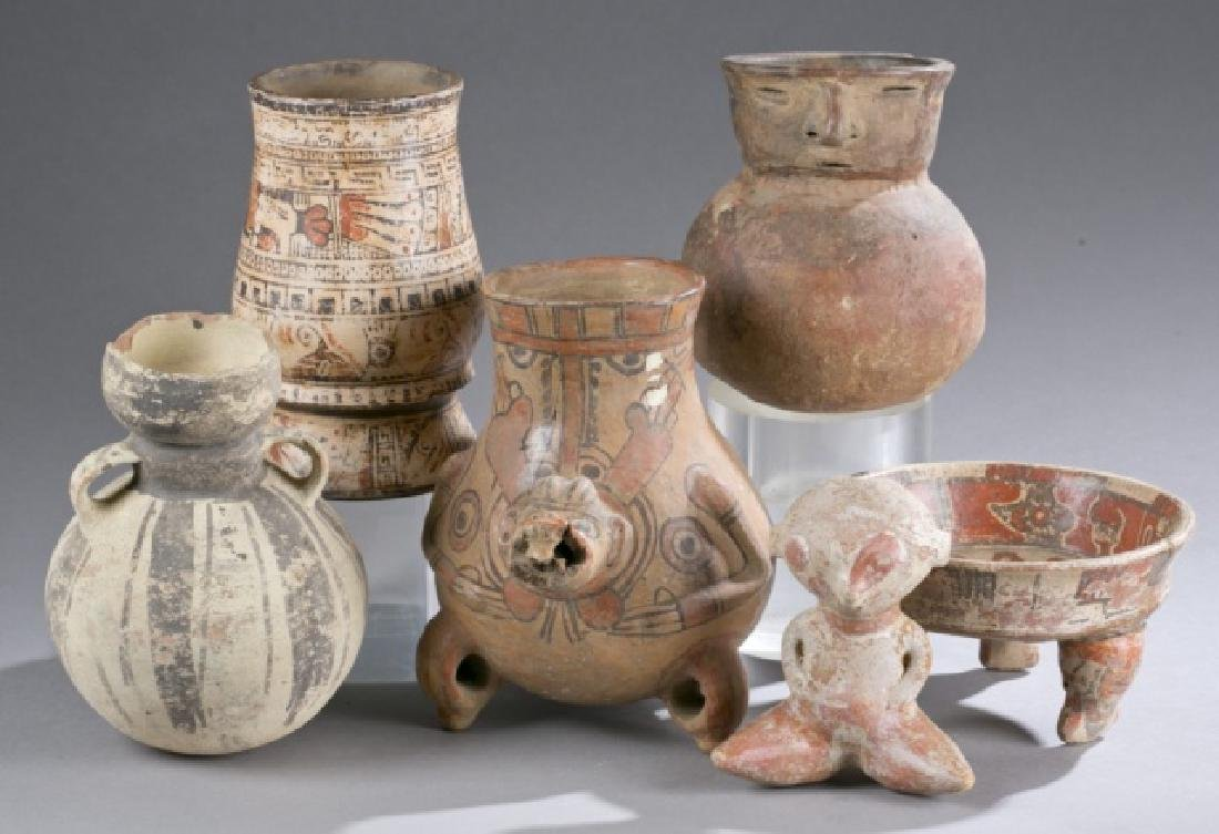 Group of 6 Pre-Columbian pottery objects.