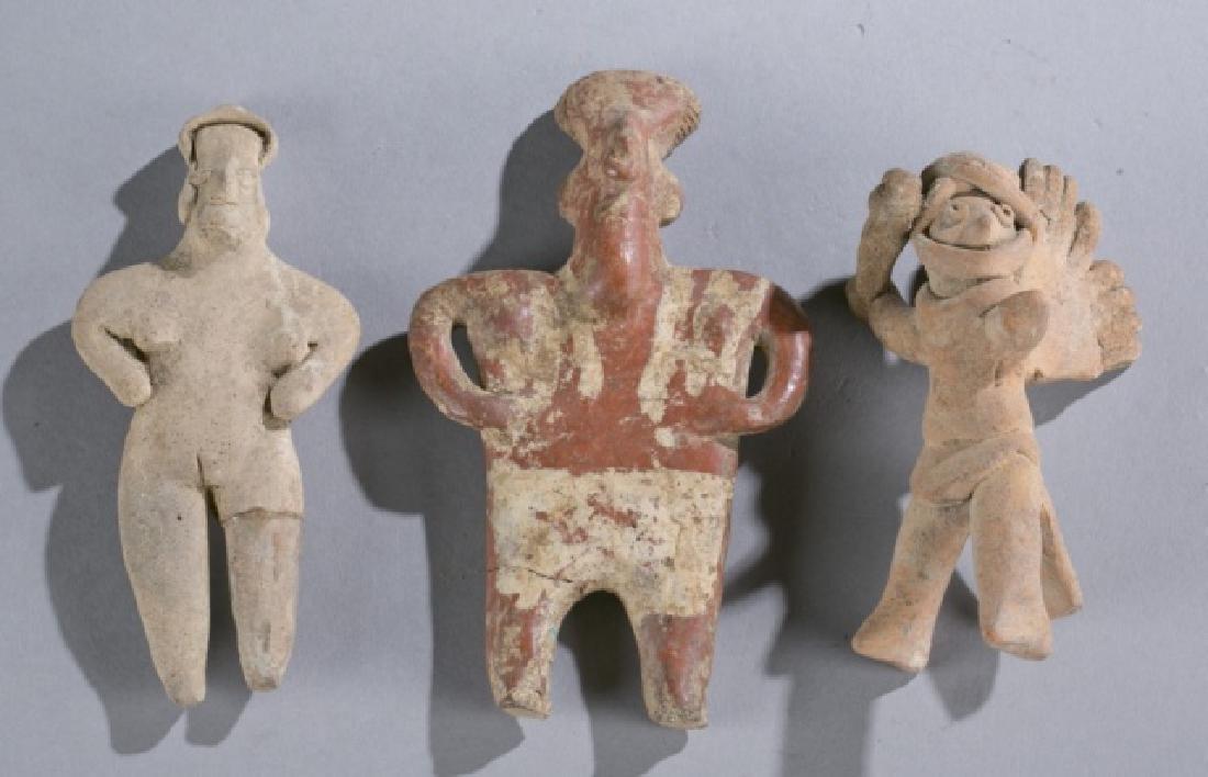 3 Pre-Classic Mexico Colima figures, 200BCE-200CE.