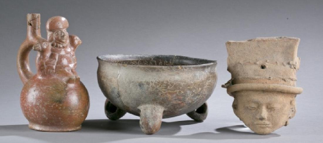 Group of 3 Pre-Columbian pottery objects.