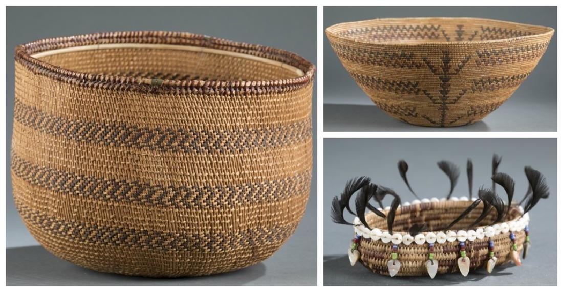 3 Northern California baskets. 20th century.