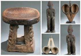 West African style bellows, stool, and figures.