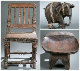 A West African stool, chair, & beaded elephant.