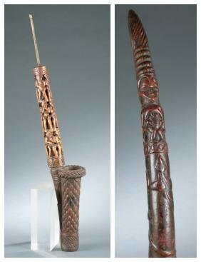 2 West African style objects, 20th century.