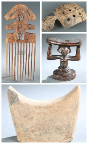 African style combs and neck rests. 20th century.