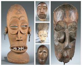 5 West African and Congo style masks. 20th cen.