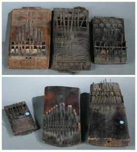 6 African thumb pianos. 20th century.