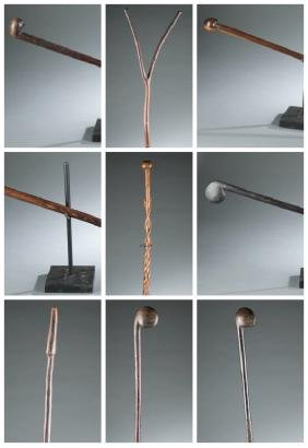 9 African staffs and clubs. 20th century.