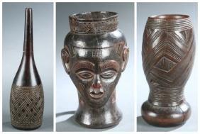 3 DRC Kuba cups. 20th century.