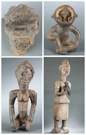 3 African seated figures. 20th century.