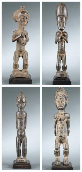 4 well Carved Baule style figures. 20th century