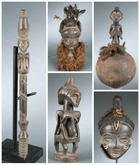 Congo  style figure 2 Pende style masks. 20th cent