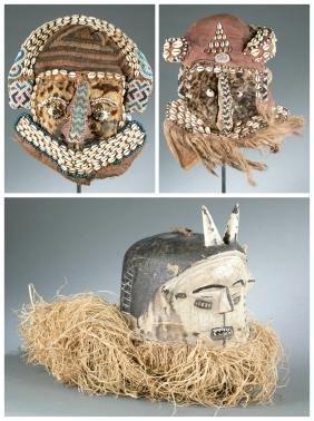 3 Congo style masks, 20th century.