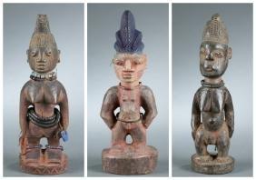 3 Yoruba Ibeji twin figures, 20th century.