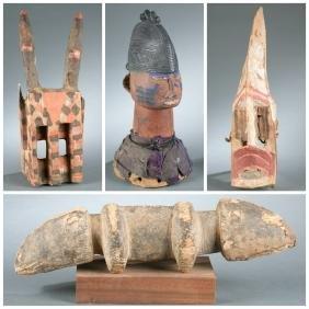 3 Dogon sculptures & 1 headdress, 20th century.