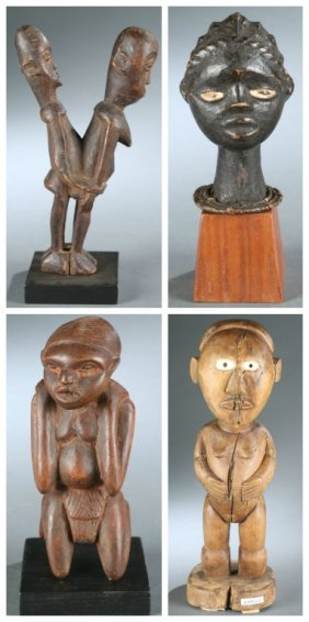 4 West African sculptures, 20th century.