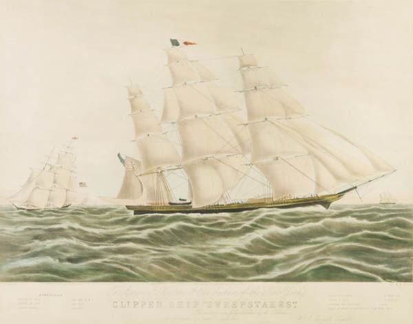16: Currier. N. Clipper Ship ''Sweepstakes.''