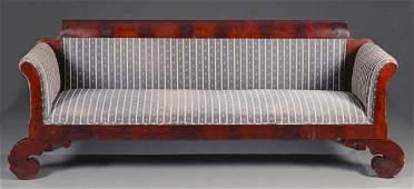 157 American Empire mahogany veneered sofa