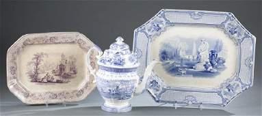 3 pieces of English transferware porcelain